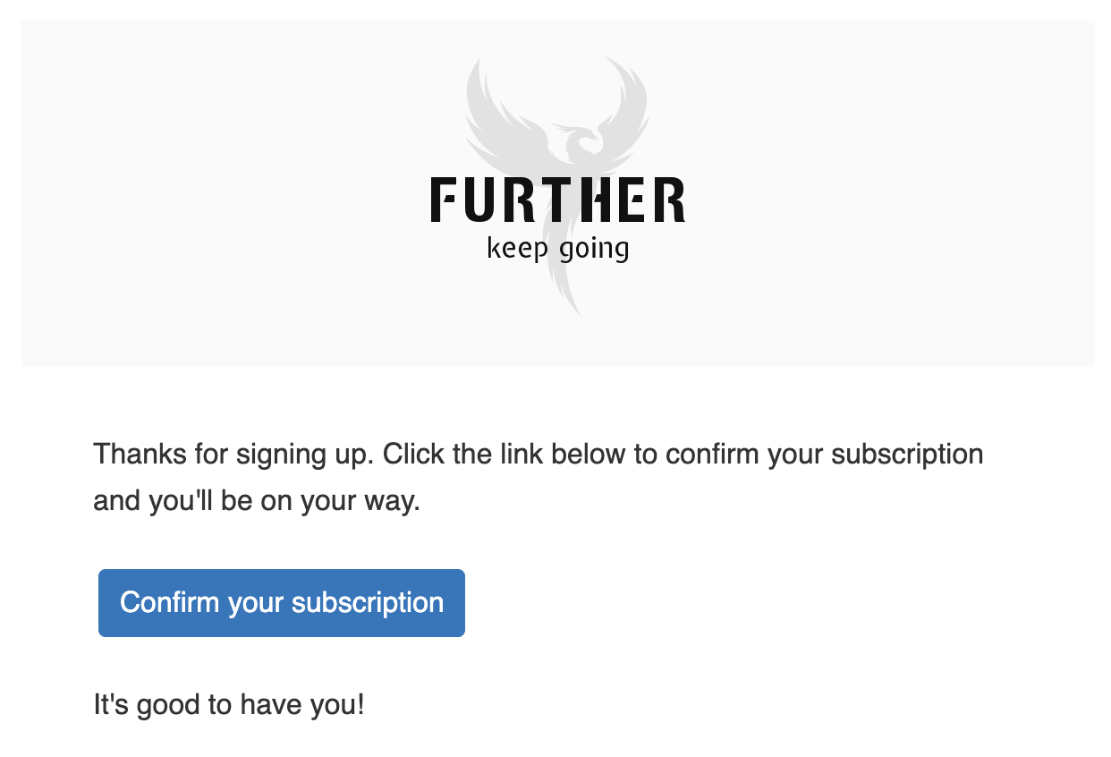 Step 4. Subscription confirmation email