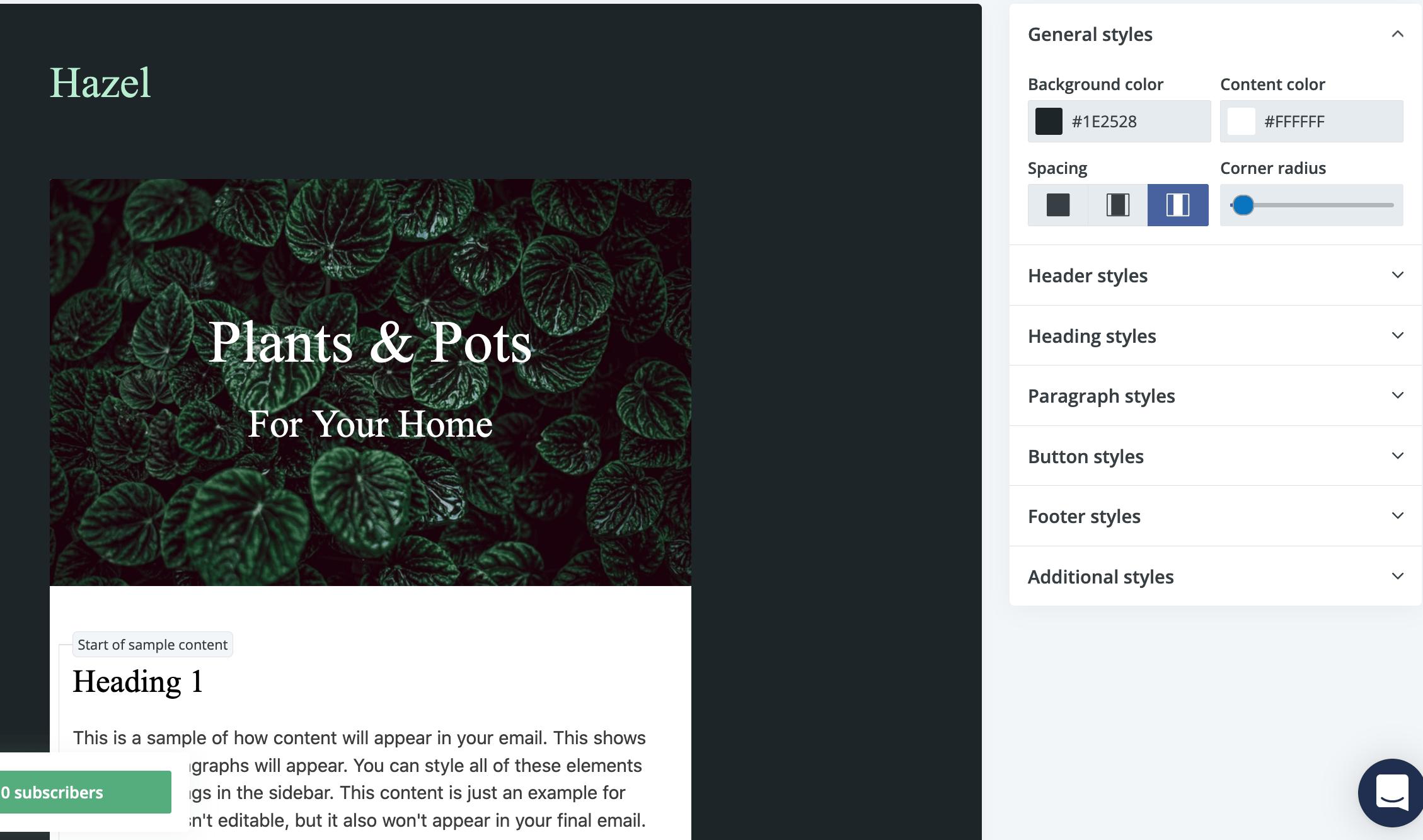 конструктор писем в платформе емейл рассылок ConvertKit