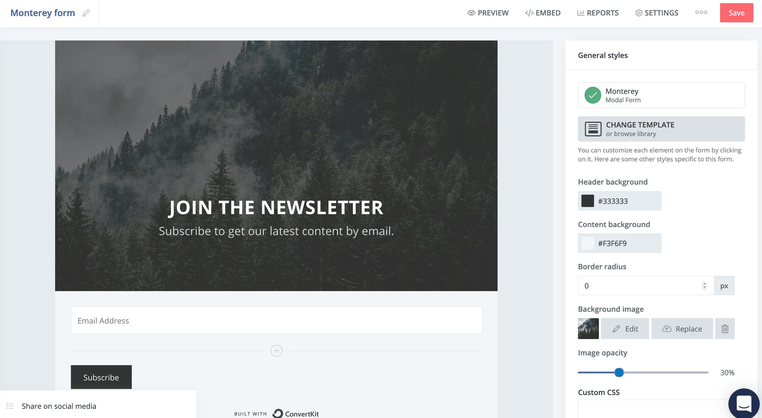 редактор формы регистрации в ConvertKit