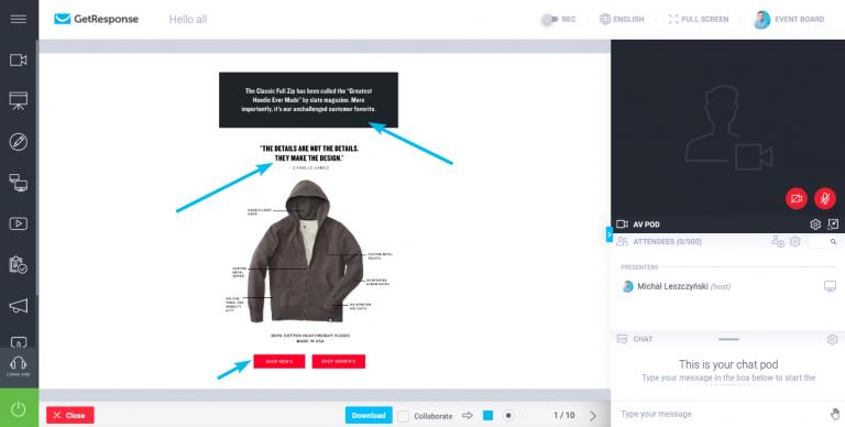 Интерактивная белая доска для проведения вебинара