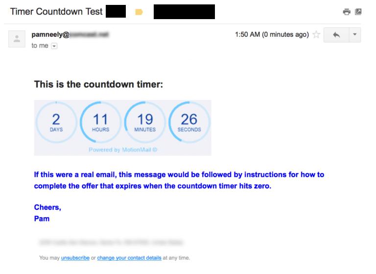 Пример предложения с таймером, созданным бесплатно с помощью MotionMail