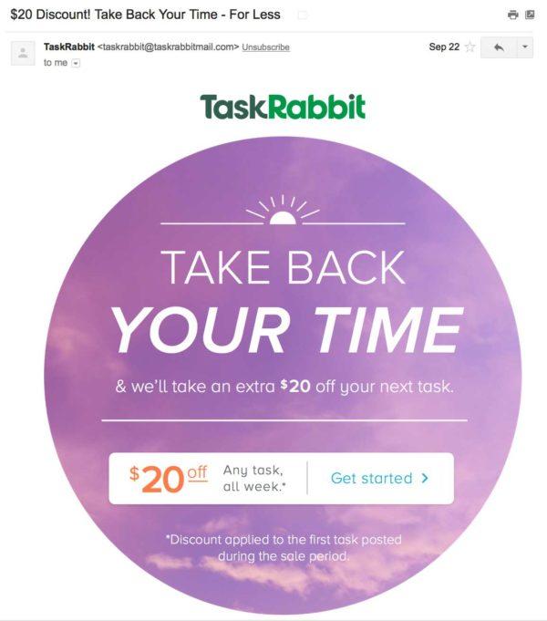 письмо от TaskRabbit, предлагающий 20% скидку