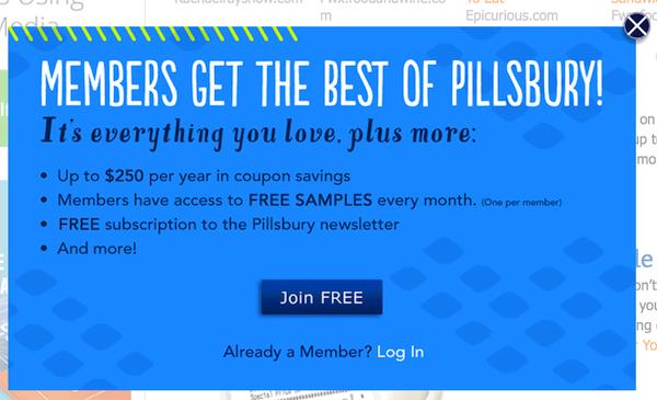Мейл от PillsburyMember, предлагающий бесплатный образцы, если подписчик предоставит свои данные