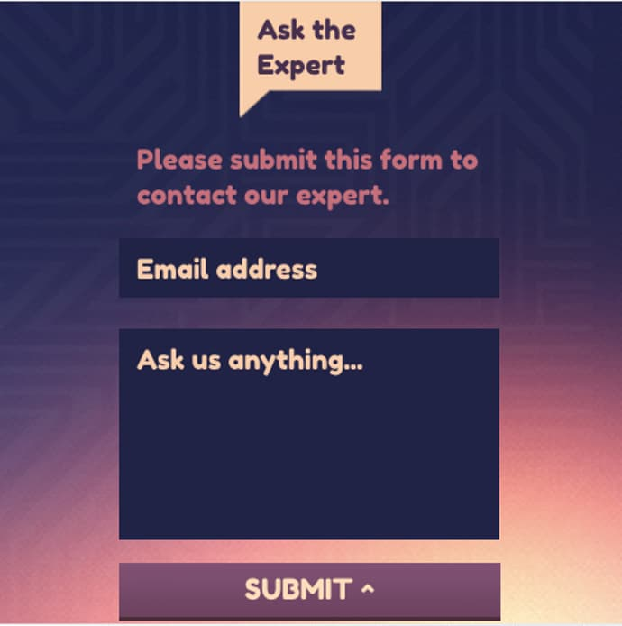 Contact us signup form example.