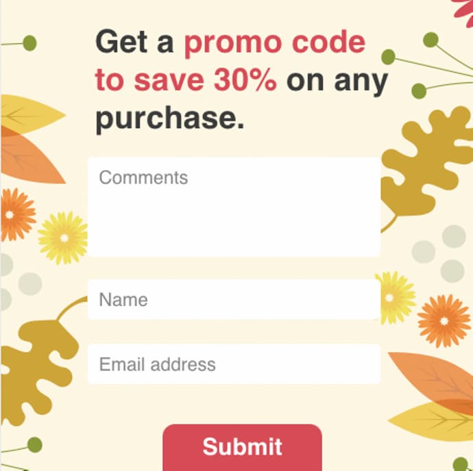 Discount coupon email signup form example.