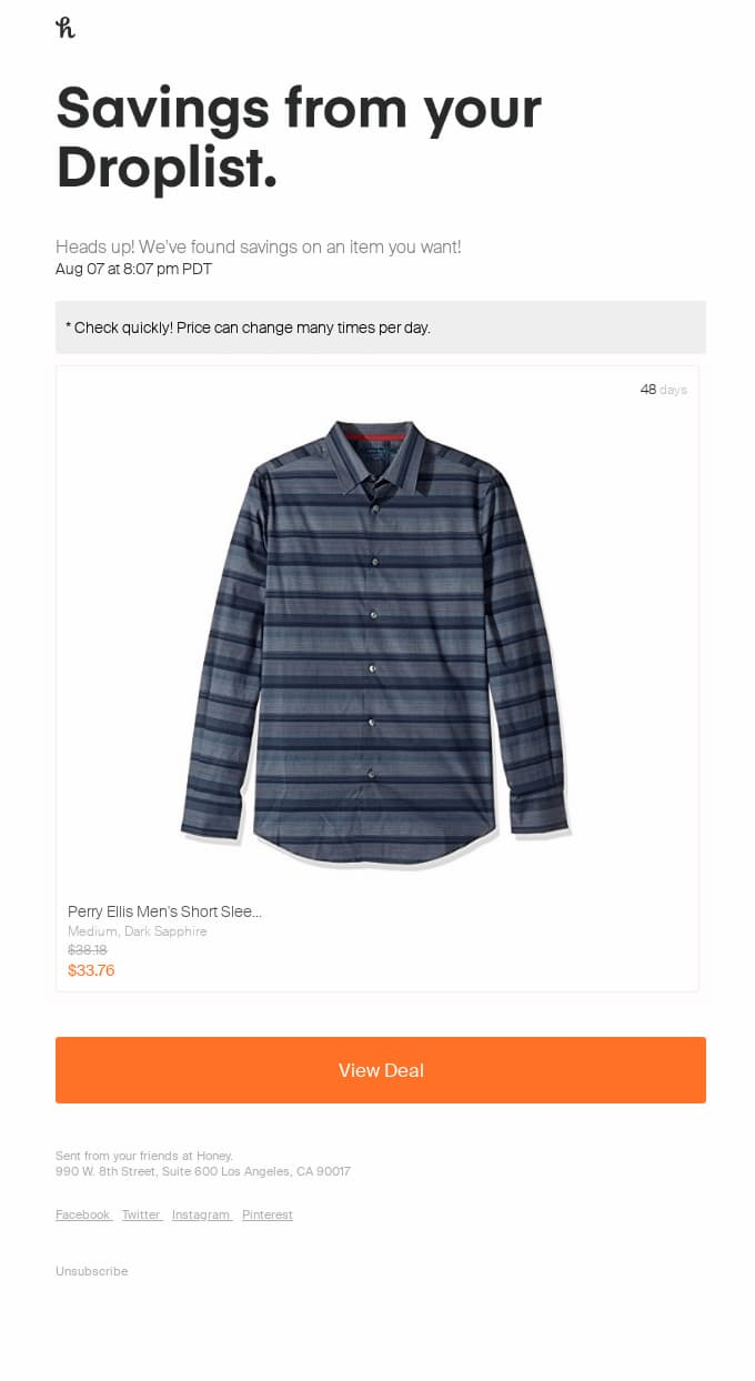 Personalized email announcing a price drop on the product a user added to their wish list.