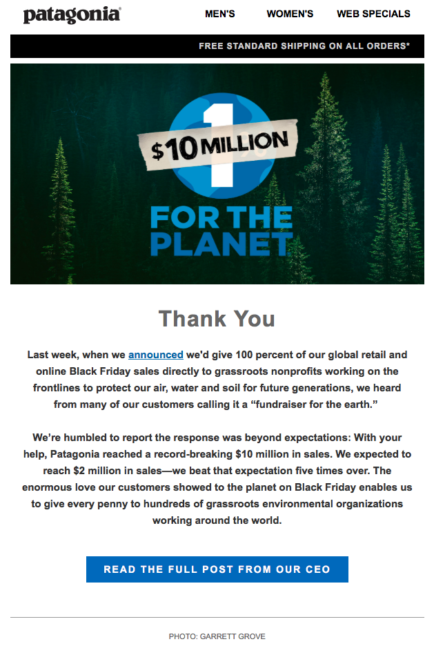 Engaging email content from an online retailer, Patagonia.