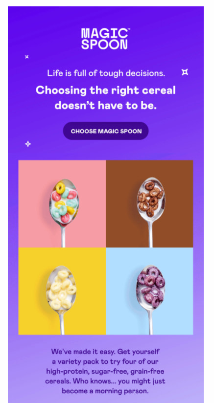 Example of an email using compelling copy from the Magic Spoon.