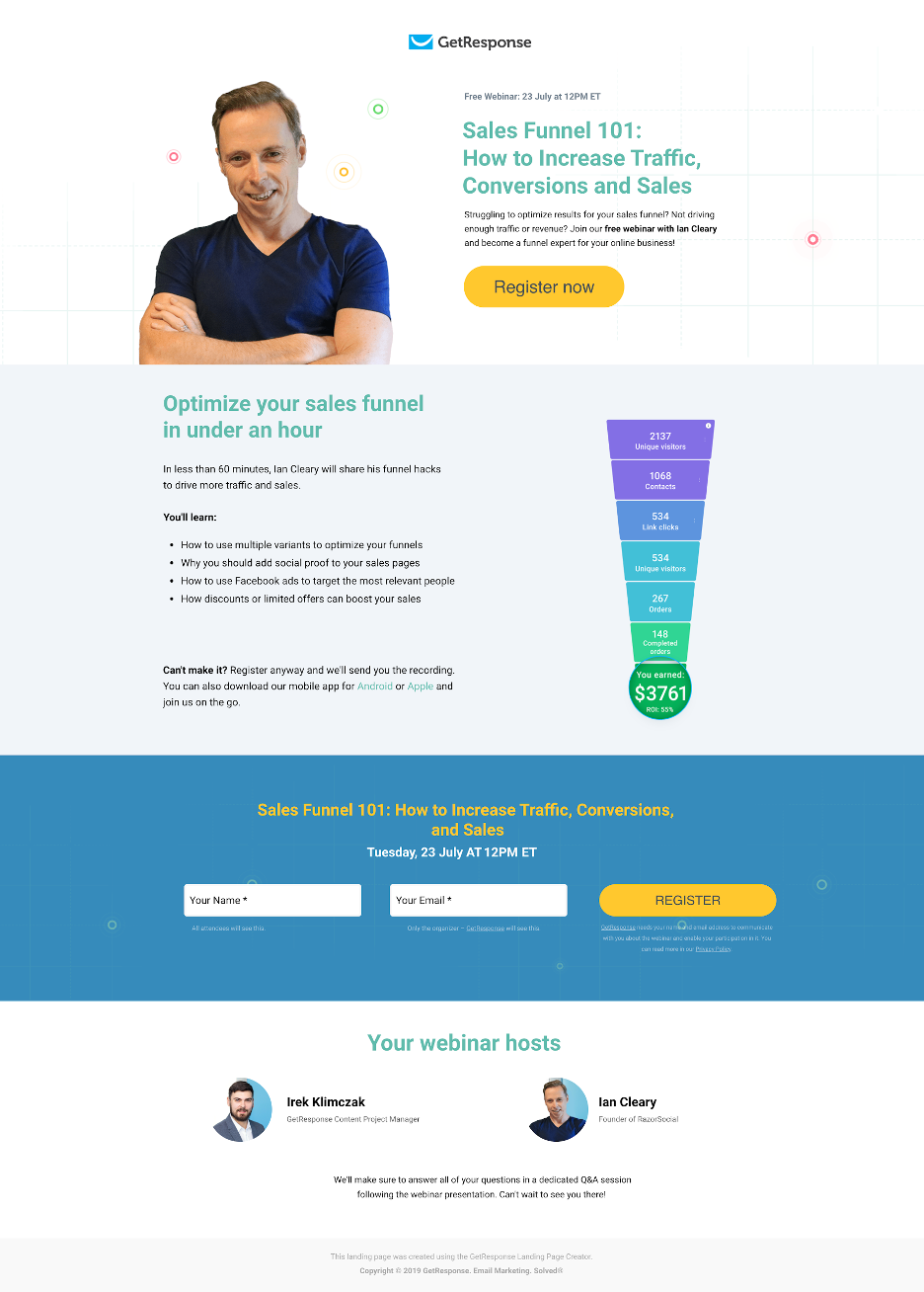 Webinar landing page example featuring a known speaker – Ian Cleary.