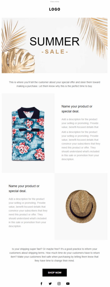 Example of an email template you can find inside GetResponse that's been designed with ecommerce businesses in mind.