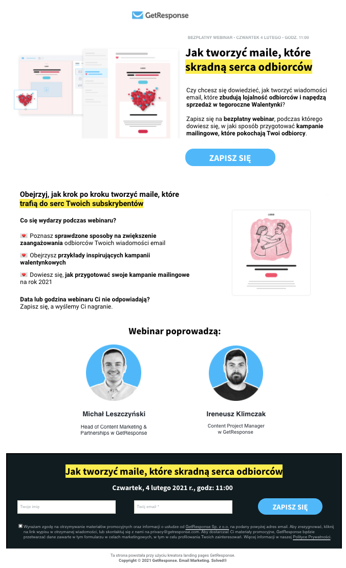 Landing page z zaproszeniem na webinar GetResponse