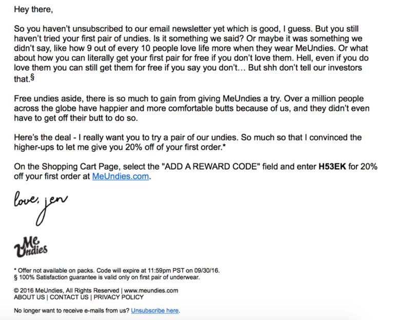 Просто лаконичное welcome-писем от MeUndies