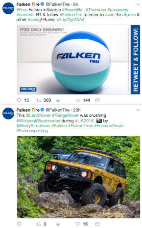 Пример поста от Falken Tire с картинками баскетбольного мяча и желтого внедорожника