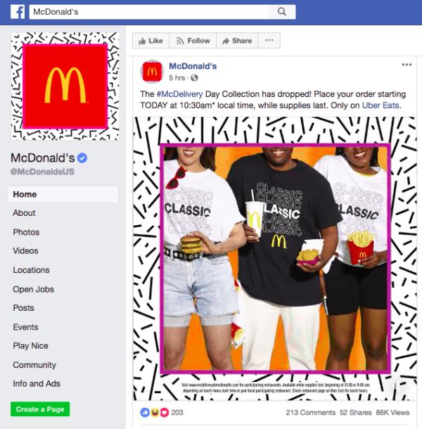 страница Макдональдс на Фейсбуке с фотографией двух девушек и парня