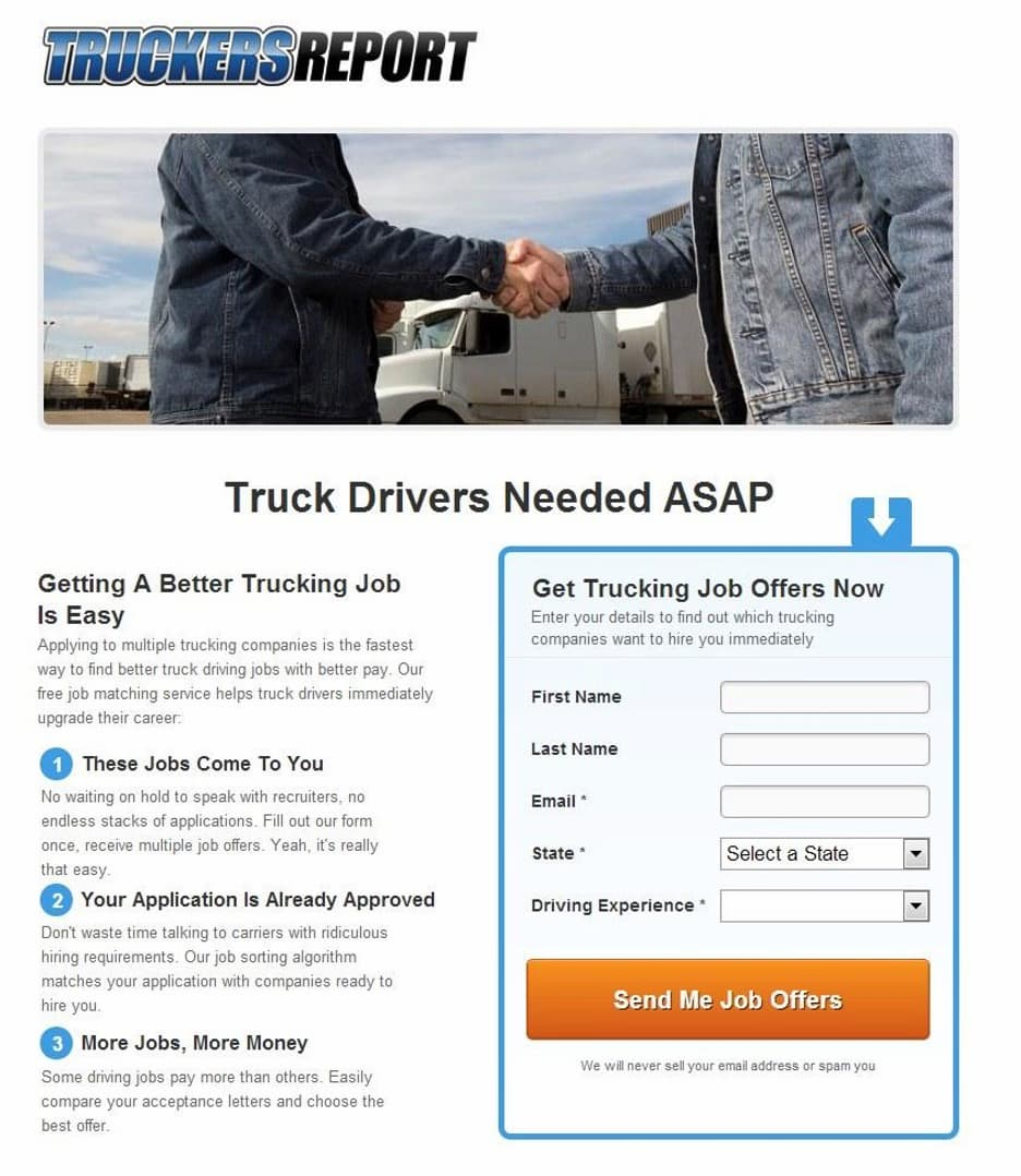The TruckersReport original landing page.