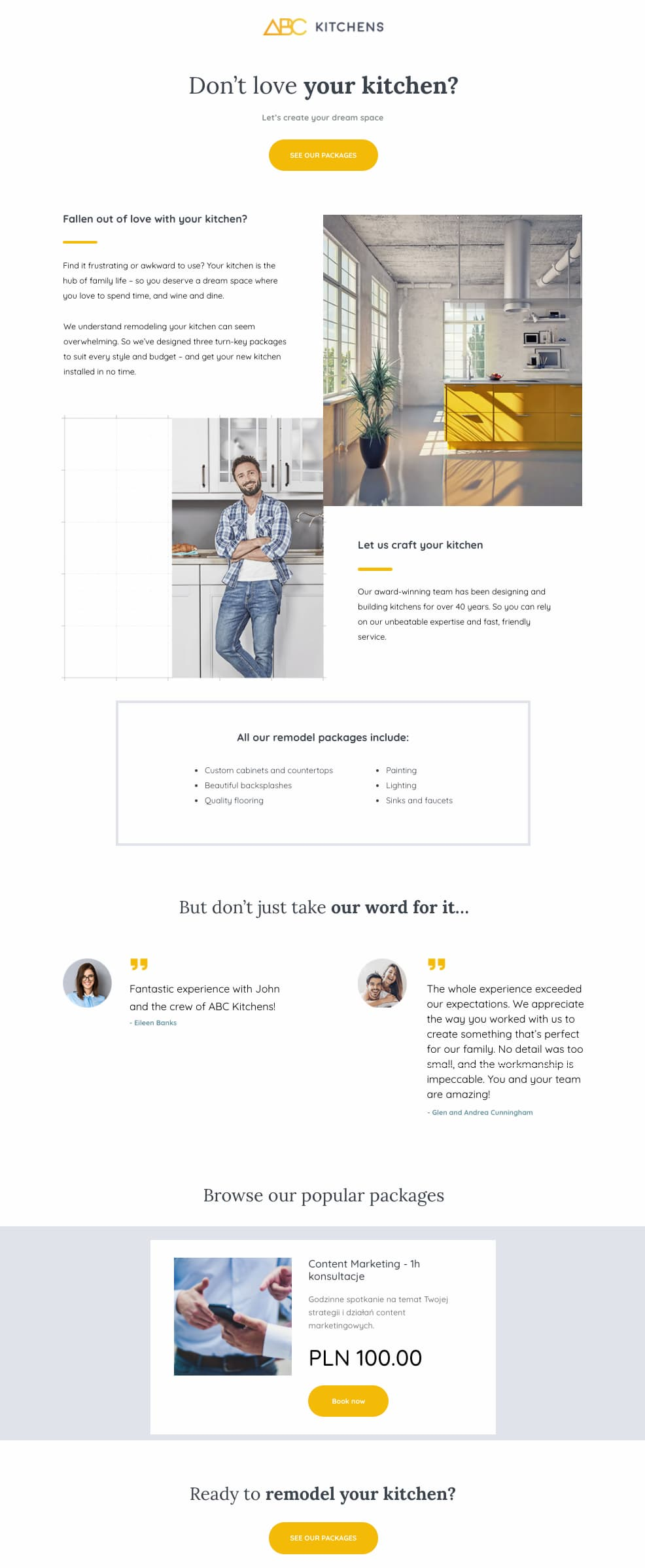 GetResponse sales page template.