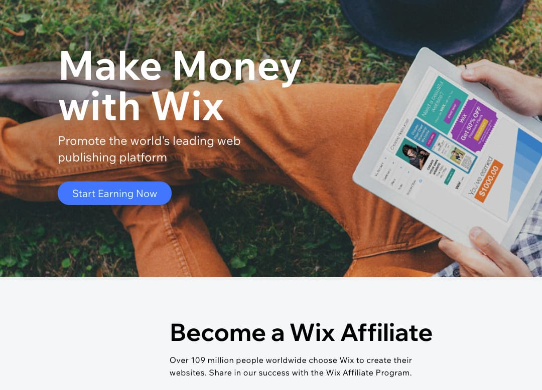 Affiliate marketing program from Wix.