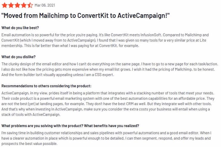 ActiveCampaign g2 review - story how user migrated from AWeber to ConvertKit, and then finally to ActiveCampaign.