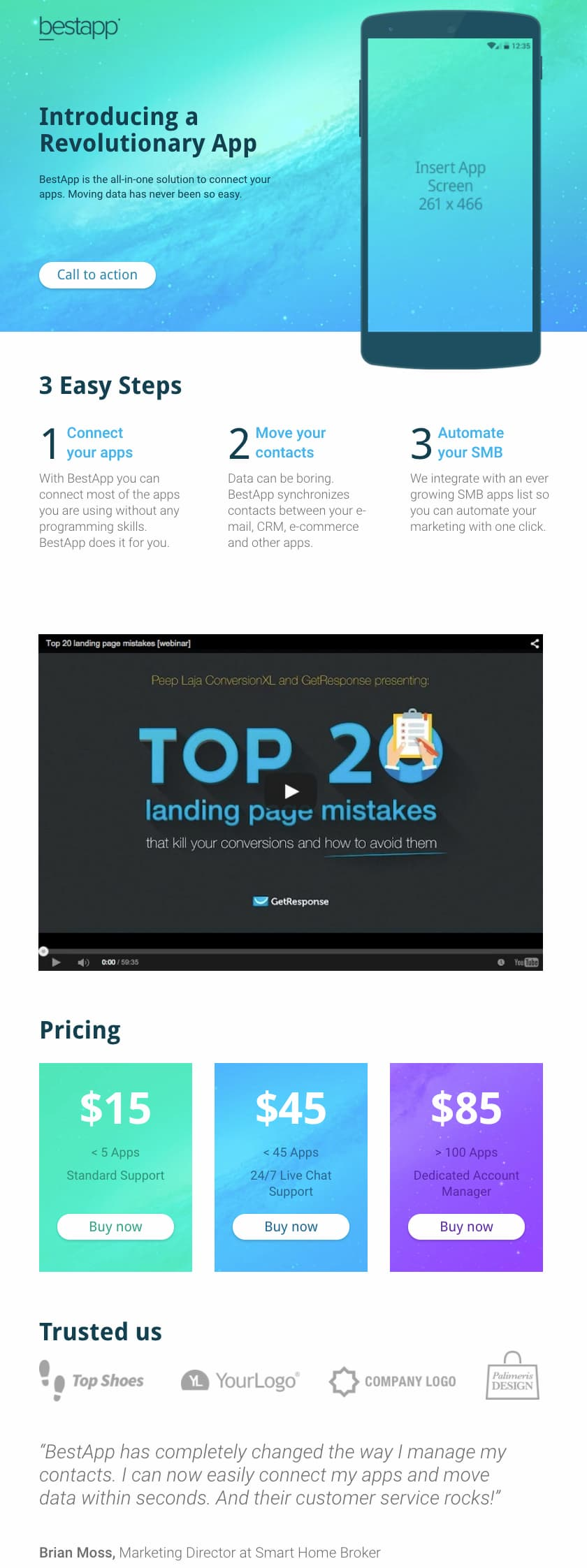 GetResponse paid ad landing page template