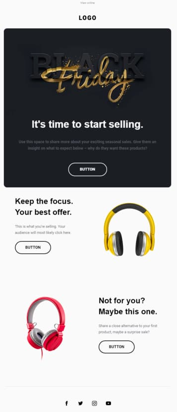 Ecommerce email template available in GetResponse.