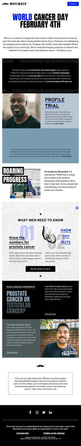 Movember email raising awareness.
