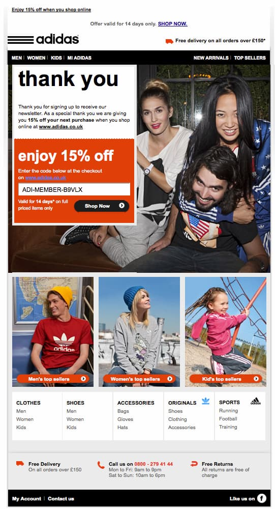 Welcome email containing a discount code – from Adidas.