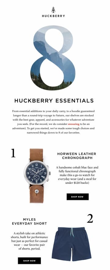 Onboarding email showing the various product categories available in the shop from Huckberry.
