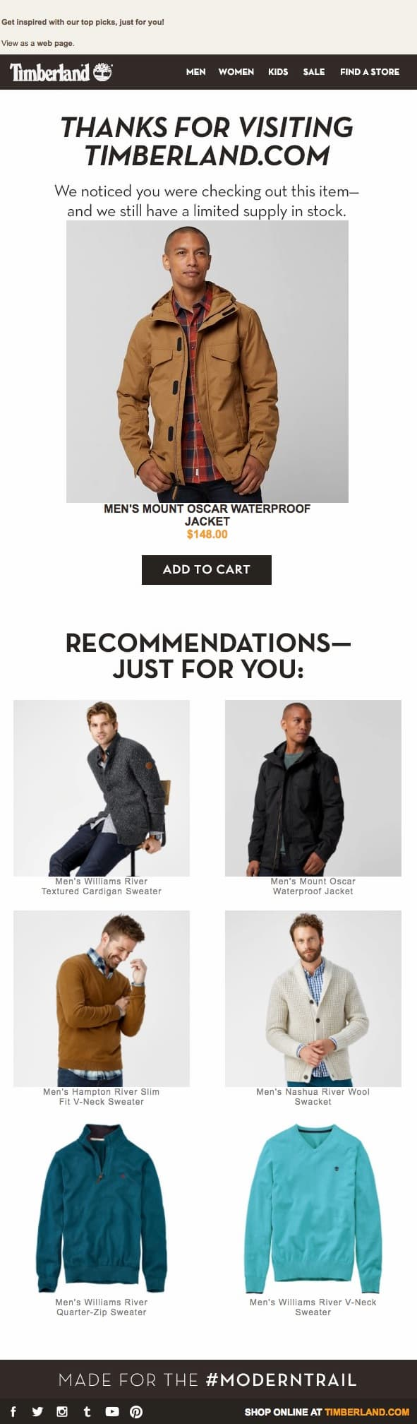 Browse abandonment email featuring the product you saw plus recommendations from Timberland.