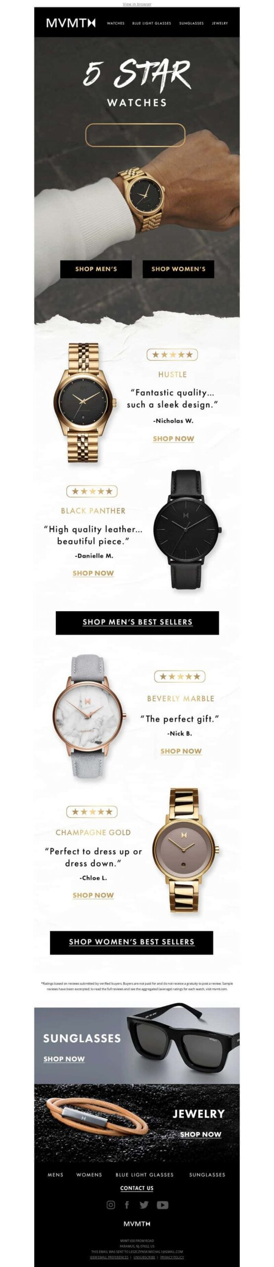 Promotional email featuring best selling watches from MVMT.