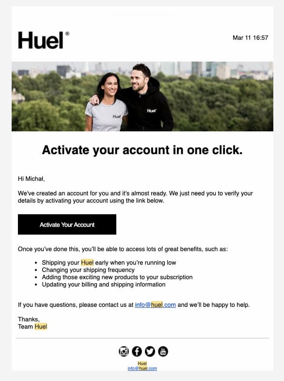 Email confirming the setup of a new account in the Huel's shop.