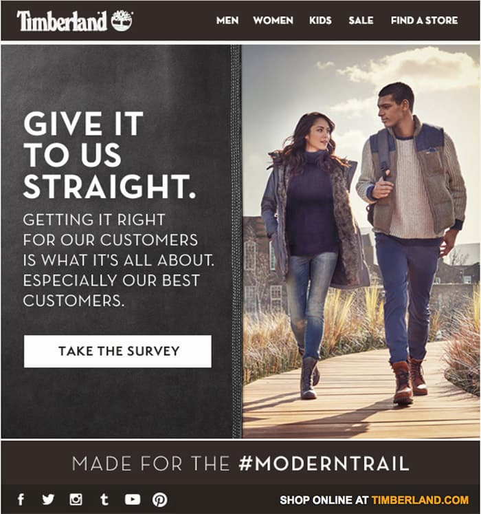 Example of a survey email from Timberland.