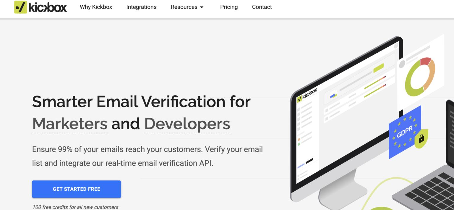 сайт инструмента верификации емейл адресов Kickbox в ясно сером цвете