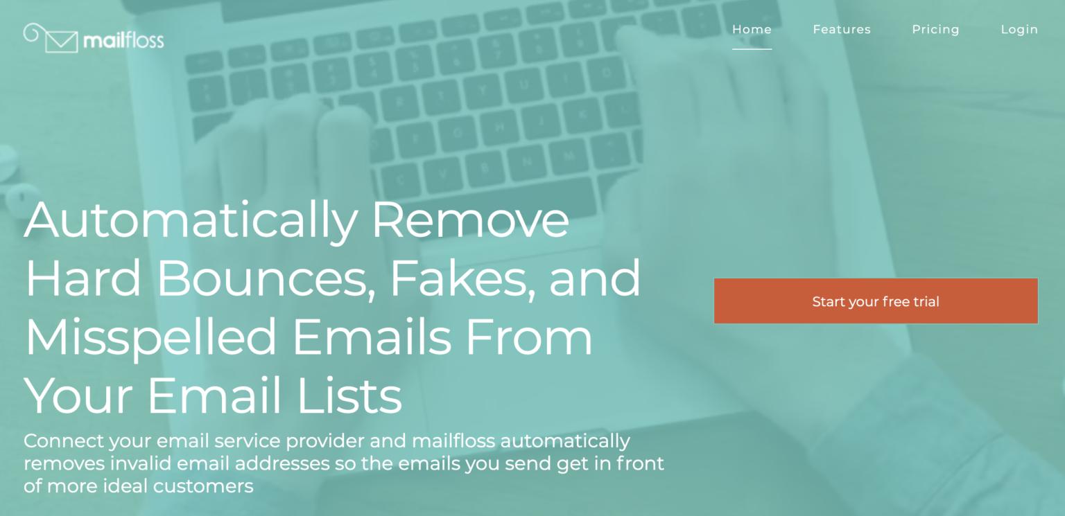 страница платформы верификации Mailfloss с изображением закрытым ясно зеленым фильтром и текстом белого цвета