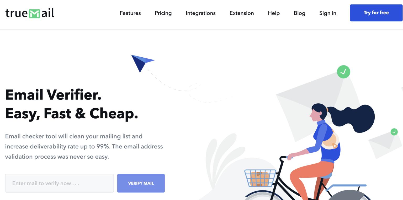 сайт платформы верификации емейл базы Truemail с иллюстрацией девушки на велосипеде на белом фоне