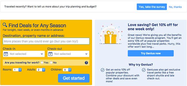 форма регистрации желтого цвета от Booking, спрашивающая о цели поездки