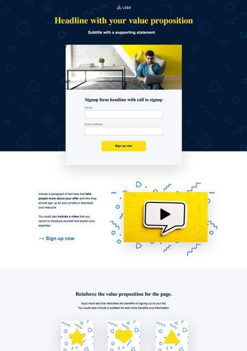 An example of a landing page with a video.