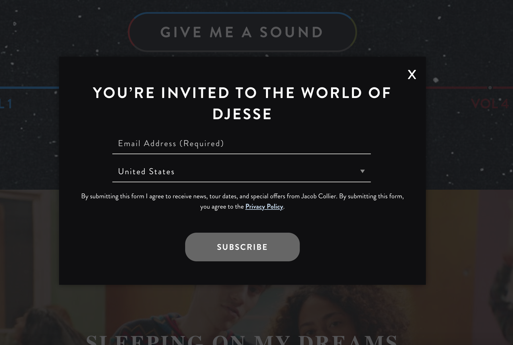 A popup signup form for musicians.