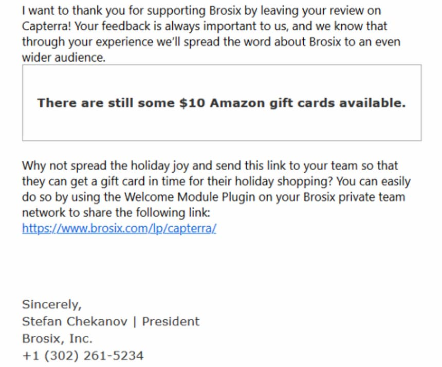 Email offering an Amazon gift card.