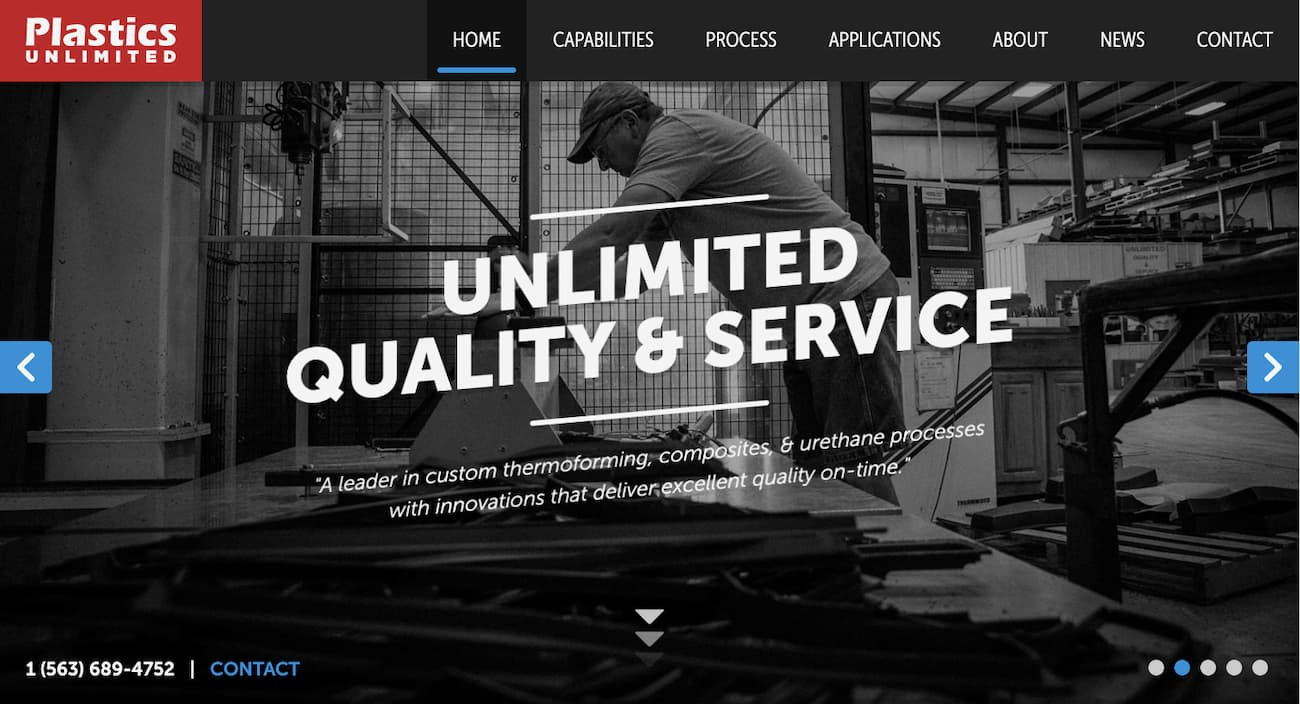 Plastics unlimited - small business website example 1.