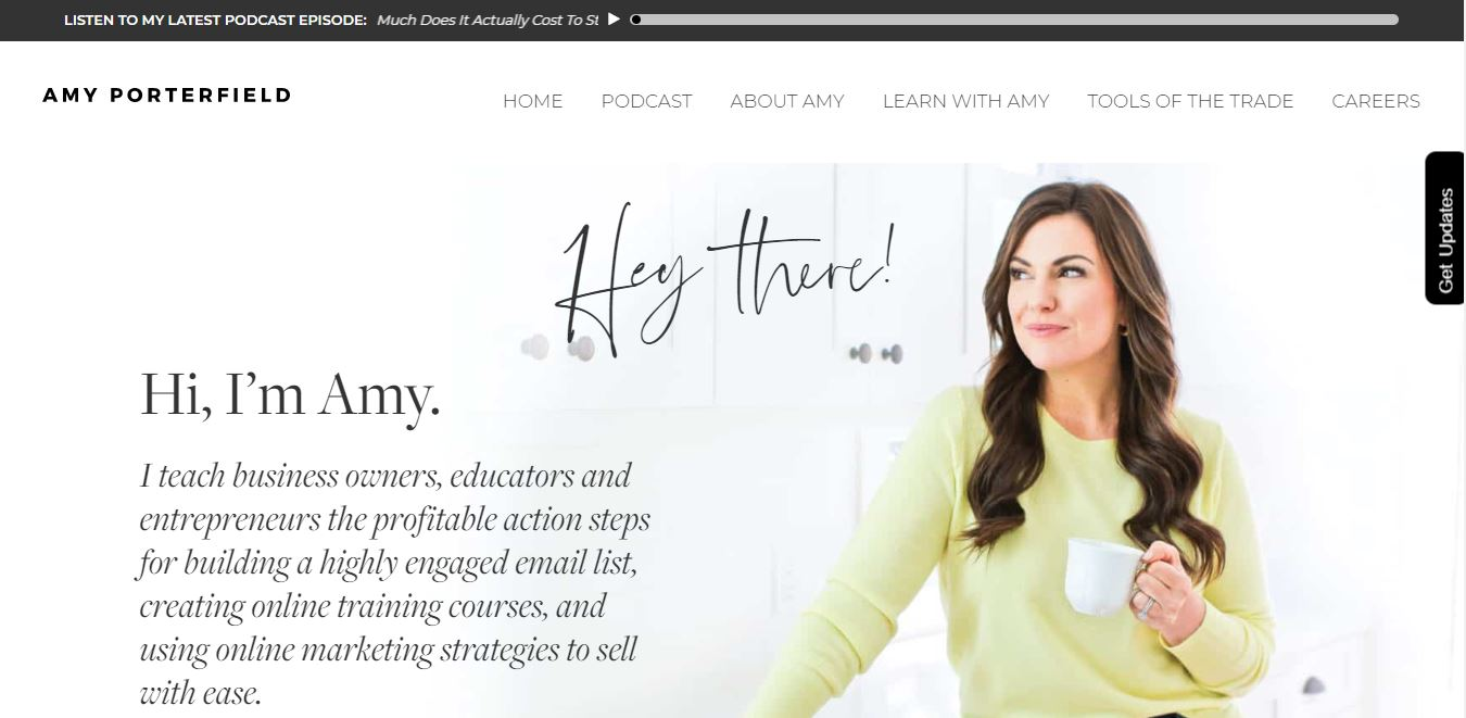 Screenshot of a personal website for an online marketing educator, Amy Porterfield.