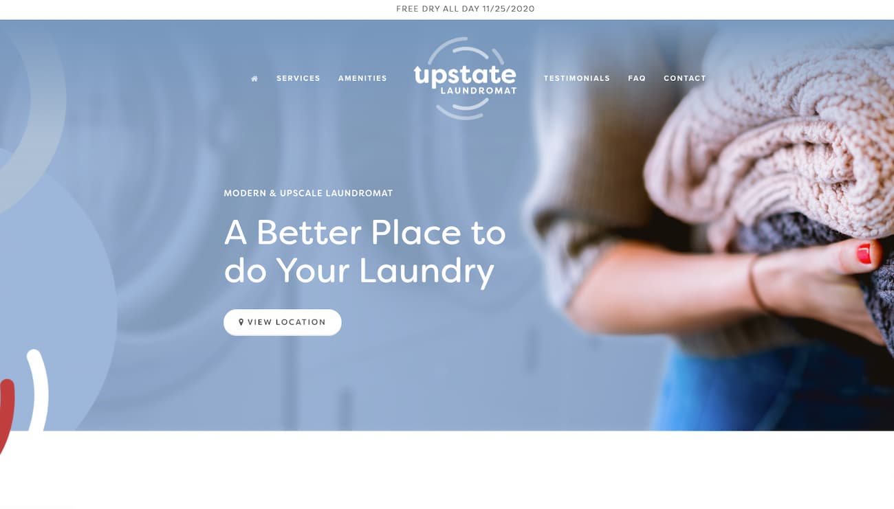 Upstate Laundromat - beautiful one page websites.