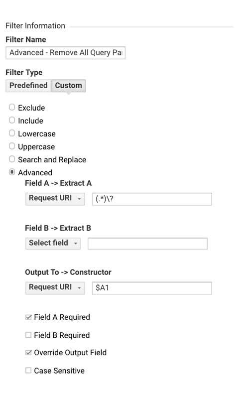 Фильтр Гугл Аналитикс - Удалить все параметры поискового запроса из путей к страницам
