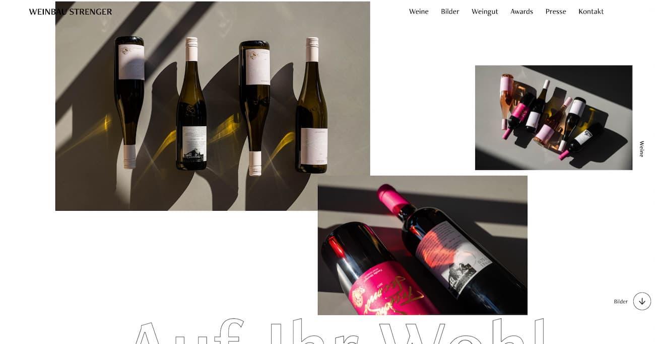 Website design inspiration Weinbau Strenger.