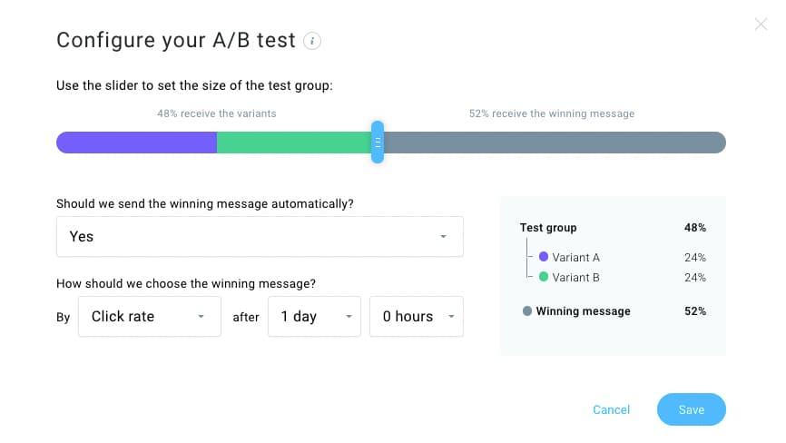 Split testing experiment configuration - choosing your audience size.