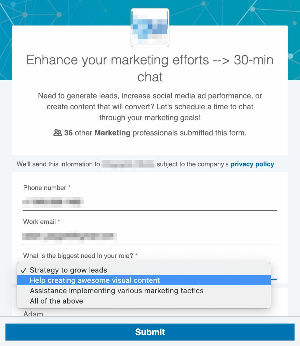 LinkedIn Lead Gen Form example.