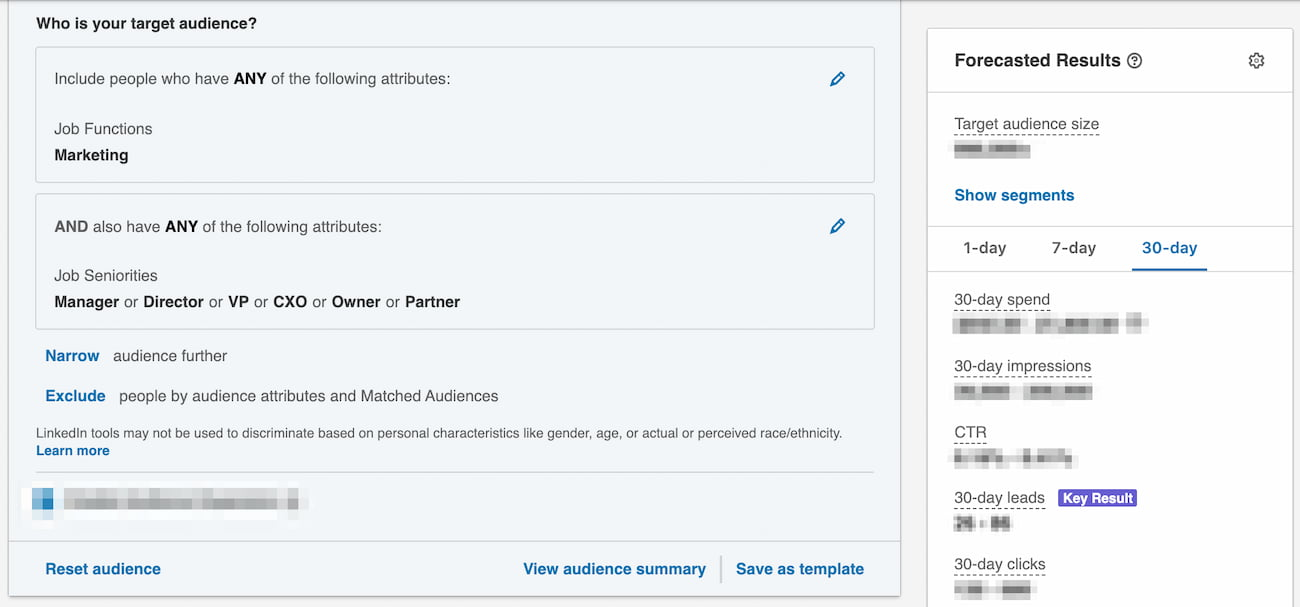 Lead gen form setup - selecting the target audience.