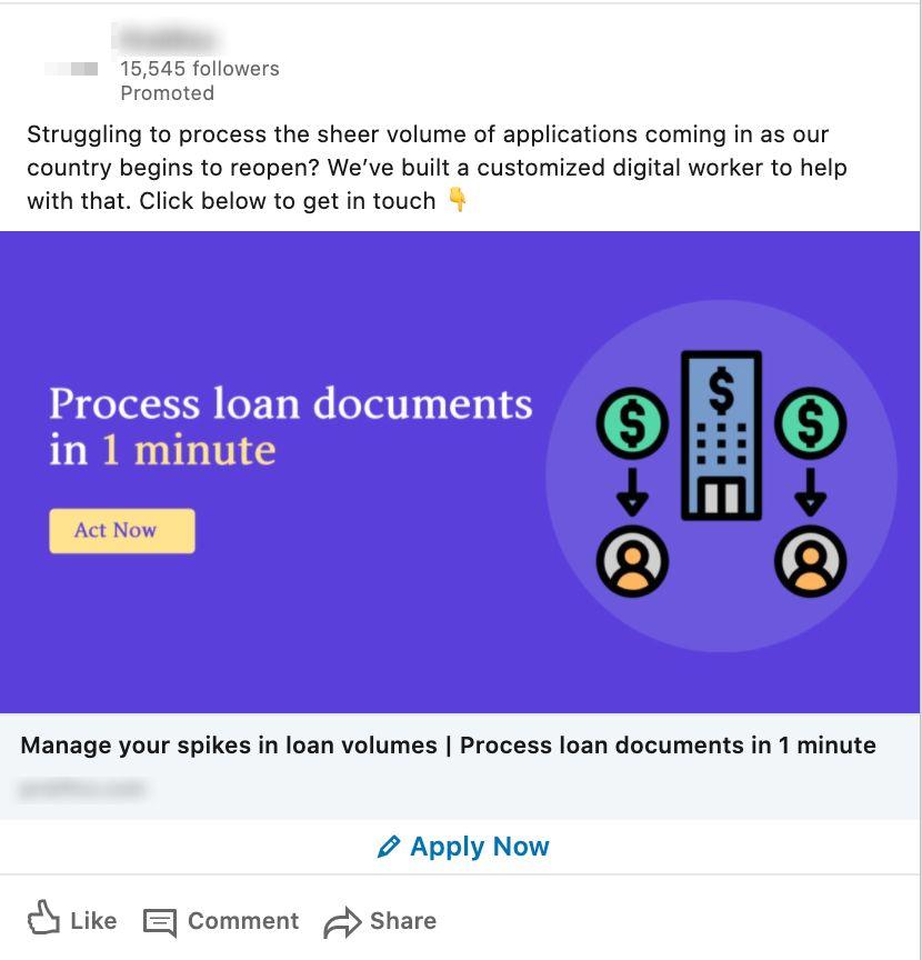 LinkedIn lead generation ad creative example.