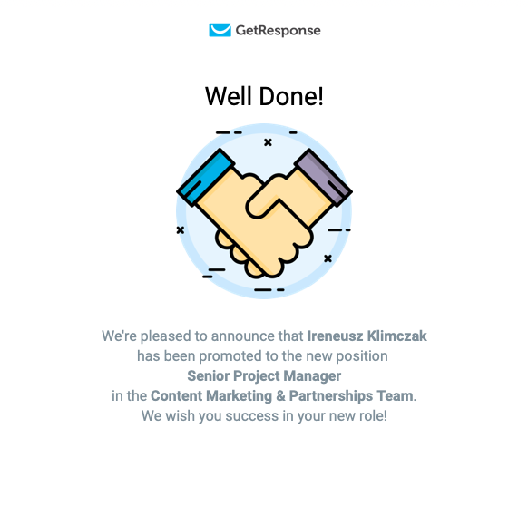 GetResponse email celebrating employee milestone.