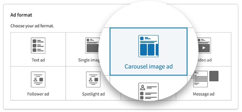 LinkedIn ads format selection.