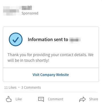 Lead gen form thank you message.
